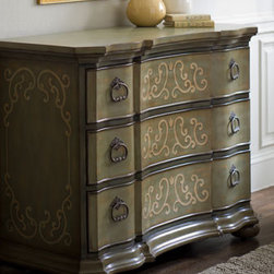 """Bren Scroll"" Chest  - It's all in the details and none have been overlooked in this beautiful chest.  Perfect for an entry or living room, the ""Bren Scroll"" Chest will charm with its elegant scroll design and hand-painted finish.    * Three drawers for ample storage.    * 49""W x 22""D x 35.5""T."