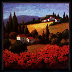 """Great Art Now - Tuscan Poppies by Unknown Framed Art , 32.5 X 32.5 - Tuscan Poppies is a high quality piece of framed artwork. The finished size of this piece is 32.5"""" X 32.5"""". It has a Black with Red Accent Metropolitan frame and is finished with high quality Acrylic Plexiglass. Hand made in the USA. 100% Satisfaction Guaranteed."""