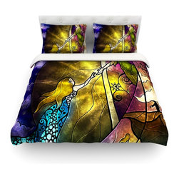 """Kess InHouse - Mandie Manzano """"Fairy Tale off to Neverland"""" Cotton Duvet Cover (Queen, 88"""" x 88 - Rest in comfort among this artistically inclined cotton blend duvet cover. This duvet cover is as light as a feather! You will be sure to be the envy of all of your guests with this aesthetically pleasing duvet. We highly recommend washing this as many times as you like as this material will not fade or lose comfort. Cotton blended, this duvet cover is not only beautiful and artistic but can be used year round with a duvet insert! Add our cotton shams to make your bed complete and looking stylish and artistic! Pillowcases not included."""