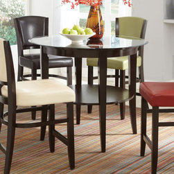 Coaster - Mix & Match Beveled 42in. Glass Top Counter Height Table - Add a splash of color to your dining room with this counter height table set. Featuring a table base in cappuccino with a shelf perfect for storing those items you wish to show off. Stylish bar stools are available in four chic linen fabric colors.