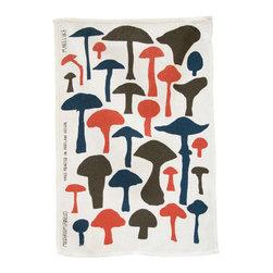 makelike design - Tea Towel - Mushrooms - This three-color tea towel is hand-screen-printed using water-based inks on 100% European linen.