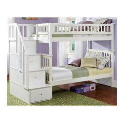Atlantic Furniture - Columbia Staircase Bunk Bed with Storage - This Columbia Staircase Bunk Bed with Storage by Atlantic Furniture will surely become a favorite sleepy time fort and you can feel good about the quality and value. It has classic mission styling that is constructed in solid eco-friendly hard rubber wood. The Columbia Staircase Bunk Bed with Storage is available in three durable finishes  antique walnut, caramel latte or white. Designed to combine ease of use and space efficiency, the staircase section comes with four fully assembled drawers for extra storage. In addition, the stairs with built in handrail are easier to climb then the standard bunk bed ladders. It can be set up at either end of the bed. With its 26 steel reinforcement points and two 14 piece slat kits, this bed is as sturdy as they come. It is available in a twin-over-twin size which measures 69 H x 44.375 W x 103 D, or a twin-over-full size which measures 69 H x 58.375 W x 103 D. Both sizes can accommodate up to 400 lbs. The mattresses are not included and are recommended to be no higher than 9. Assembly is required. With so many sleep options the Columbia Staircase Bunk Bed with Storage creates convenient space in your child's room. Features: -Staircase can be set up at either end of the bunk bed.-Staircase chest comes Fully assembled in two boxes.-Bed accommodates up to a 9.05'' mattress.-High build five step.-Safety by design.-Eco friendly.-ASTM and CPSC certified.-Solid hardwood construction.-Mortise and tenon construction.-Durable, non toxic and lead free finish.-Columbia collection.-Collection: Columbia.-Distressed: No.Dimensions: -Twin over Twin dimensions: 69'' H x 44.375'' W x 103'' D.-Twin over Full dimensions: 69'' H x 58.375'' W x 103'' D.-Overall Product Weight: 398 lbs.Warranty: -Manufacturer provides one year warranty.
