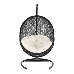 Encase Swing Outdoor Patio Lounge Chair - Embark on moments of metamorphosis and rebirth with this exotic hanging outdoor swing chair. Transform the mundane to heightened states of consciousness with Encase's sturdy espresso metal stand and rattan seat. Surround yourself with plush white-fabric cushions and floral pattern to complete this entry into life and healing.