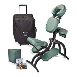 EarthLite - EarthLite Avila Massage Chair Package - 10605 - Shop for Chairs and Accessories from Hayneedle.com! Compact and infinitely adjustable the EarthLite Avila Massage Chair Package provides superior comfort in an ergonomic design. And weighing in at just 22 lbs. this chair is easy to move and store.Additional InformationStrong stable frame made from pressure-molded composite materialsStainless steel clutches reinforced chest clampLeg and seat shapes work with chair angles to provide optimal weight distribution for superior comfort and supportThree quick-levers adjust chair fit for anyone from child to 350 lb. adultHigh-quality Soft Support removable pads with Natursoft upholsteryInstructional DVD teaches massage basicsCarry case has a wheeled design for easy movingWeight capacity: 350 lbs.Chair weight: 22 lbs.Your choice of colorManufacturer's warranty included - see Product Guarantee area for complete detailsAbout EarthLite:EarthLite has become a favorite among massage therapists for high-quality ergonomically-designed massage tables. Using tested manufacturing methods to create sturdy long-lasting tables EarthLite strives to provide the best in massage tables and equipment. Each table is hand-crafted using earth-friendly materials. Instead of rainforest woods you'll find Canadian hard maple legs and braces and Baltic birch plywood table decking; both of these woods are farmed renewable resources that minimize negative environmental impact. In addition EarthLite uses water-based lacquer and glues and environmentally-friendly foam and vinyl. This dedication to environmental responsibility means no sacrifice in quality; EarthLite is so confident in their materials and workmanship that they offer a lifetime warranty on many of their massage tables. All of these techniques and principles make EarthLite a natural choice when you're looking for a quality massage table or accessory.
