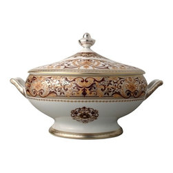 Bernardaud - Bernardaud | Boulle |Soup Tureen - Boulle pays tribute to Andre Charles Boulle, a 17thC master of marquetry who used precious woods in conjunction with shell, tin, copper and other precious materials. On a silver gray background is a motif emblematic of the period,composed of arabesques, which evokes the beauty of amaranth,the depth of elm,and the subtlety of fruitwood.