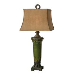 Uttermost - Uttermost Olea Table Lamp w/ Rectangle Bell Shade in Burlap Linen - Table Lamp w/ Rectangle Bell Shade in Burlap Linen belongs to Olea Collection by Uttermost Distressed crackled green ceramic with rust bronze undertones and details. The rectangle bell shade is a burlap linen fabric with natural slubbing. Table Lamp (1)