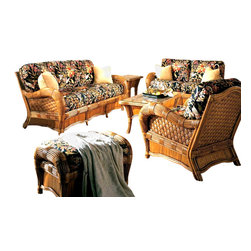 Spice Island Wicker - Kingston Reef 6 Piece Rattan and Wicker Sunroom Set - The popular Kingston Reef Sunroom group has a beautiful tropical appearance and is built to last. The cushions are made with high quality 6-7 inch foam. The end tables and coffee tables come with glass. The 6 piece set comes with the Sofa, Ottoman, Loveseat, Lounge Chair, Coffee Table, and End Table. The fabric comes as shown in Wild Orchid Black.