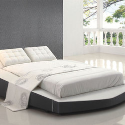 Fashionable Leather High End Elite Furniture - Rio contemporary black bedroom set with big leather bed pillows. This price is given for Queen Size Bedgroup, which includes - Bed itself, Dresser + Mirror and 2 nightstands.