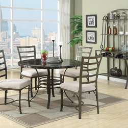 Acme Furniture - Daisy Round Black 5 Piece Dining Table set - 70057BK - Set includes Dining table and 4 Side chairs