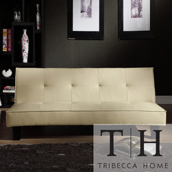 Tribecca Home - TRIBECCA HOME Bento Beige Faux Leather Modern Mini Futon Sofa Bed - Combine contemporary style and convenience with this faux leather mini futon sofa bed. Made from a plywood frame with espresso finish, this futon is upholstered with high-quality beige faux leather that makes it compatible with most home decors.