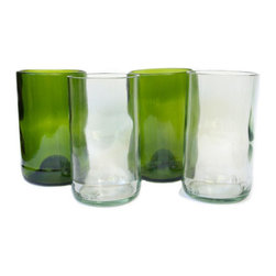 Bukoto Upcycled Single Glass, Green - Ethically-made and eco-friendly, these drinking glasses from Makindye, Uganda are upcycled from discarded bottles. Since glass bottles cannot be recycled in Uganda, a social enterprise called Good Glass employs people to collect the bottles before they land in the local dumps. They then hire artisans to cut, sand and polish them into glassware in return for fair wages for their work.
