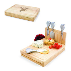 Picnic Time - Atlanta Falcons Asiago Folding Cutting Board With Tools in Natural Wood - The Asiago is a folding cutting board with tools that is another Picnic Time original design. This compact, fully-contained split-level cutting board is made of eco-friendly rubberwood. Lift up the top level of the board to reveal four brushed stainless steel cheese tools: a pointed-tipped cheese knife, cheese fork, cheese chisel knife, and blunt nosed hard cheese knife. The tools are magnetically secured to a wooden strip that lifts up so you can close the cutting board and display the tools. Designed with convenience in mind, the Asiago is great for home or anywhere the party takes you.; Decoration: Engraved; Includes: 4 brushed stainless steel cheese tools (1 pointed-tipped hard cheese knife, cheese fork, cheese chisel knife, and blunt nosed soft cheese knife