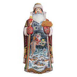 """Christmas Goose Santa Claus Artistic Wood Carved Sculpture - Measures 14""""H x 7.5""""L x 4""""W. G. DeBrekht fine art traditional, vintage style sculpted figures are delightful and imaginative. Each figurine is artistically hand-painted with detailed scenes including classic Christmas art, winter wonderlands and the true meaning of Christmas, nativity art. In the spirit of giving G.DeBrekht holiday decor makes beautiful collectible Christmas and holiday gifts to share with loved ones. Every G. DeBrekht holiday decoration is an original work of art sure to be cherished as a family tradition and treasured by future generations. Some items may have slight variations of the decoration on the decor due to the hand painted nature of the product. Decorating your home for Christmas is a special time for families. With G. DeBrekht holiday home decor and decorations you can choose your style and create a true holiday gallery of art for your family to enjoy. All Masterpiece and Signature Masterpiece woodcarvings are individually hand numbered. The old world classic art details on the freehand painted sculptures include animals, nature, winter scenes, Santa Claus, nativity and more inspired by an old Russian art technique using painting mediums of watercolor, acrylic and oil combinations in the G. Debrekht unique painting style. Linden wood, which is light in color is used to carve these masterpieces. The wood varies slightly in color."""