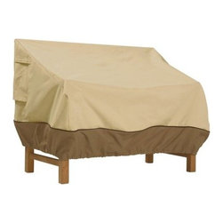 Classic Accessories Patio Bench Cover - Pebble - Protect your patio bench right where it is with the stylish Patio Bench Cover - Pebble. This cover is made of weather-resistant pebble polyester fabric with durable PVC backing and a decorative border. Its customized fit comes from click-close buckles and an elastic hem cord with adjustable toggle. Padded handles ensure taking it off and on is a breeze and air vents reduce condensation. About Classic AccessoriesFounded from small beginnings, Classic Accessories has grown in the past 30 years from a small basement operation in Seattle's Roosevelt neighborhood making seatbelt pads and steering wheel covers, to a successful and expanding company now making a wide variety of products from car to boat covers and much more. Innovative, stylish designs define products that are functional and made to last. From little details to the largest innovations, Classic Accessories is always moving forward and looking to provide cover and storage solutions to a clientele that has a passion for the outdoors, from backyard gatherings to exciting camping trips, Classic Accessories provides the products that keeps your equipment looking great all season long.