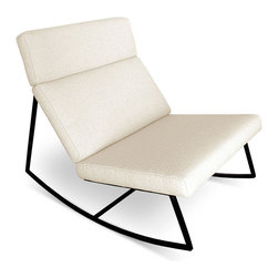 Gus Modern - GT Rocker by Gus Modern - Cabana Husk - The Gus* version of the perfect modern rocking chair; featuring a black powder coated frame with architecturally-styled cushions inspired by airport lounge seating and 70's car interiors. Constructed with 100% FSC®-Certified Wood in support of responsible forest management.