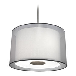 """Robert Abbey - Contemporary Robert Abbey Saturnia Stainless Steel Pendant Light - This subdued and elegant pendant light from Robert Abbey. Accomodates three bulbs under a set of two distinctive shades. The outer shade is fashioned from a lovely transparent Elna Plata fabric while ascot white fabric makes up the inner shade. A white acrylic diffuser creates an even illumination. Stainless steel construction. Direct wire hookup only. Elna Plata transparent fabric exterior shade. Ascot white fabric interior shade. 19"""" diameter white acrylic diffuser. Takes three 100 watt maximum bulbs (not included). 15 1/2"""" high. Minimum drop 24"""". Maximum drop 60"""". Canopy is 6"""" diameter and 1 1/4"""" high. Outer shade is 24"""" diameter across the top 25"""" diameter across the bottom and 14"""" high. Inner shade is 19 1/2"""" across the top 20"""" across the bottom and 14"""" high.  Stainless steel construction.   Direct wire hookup only.   Elna Plata transparent fabric exterior shade.   Ascot white fabric interior shade.   From the Robert Abbey lighting collection.  19"""" diameter white acrylic diffuser.    Takes three 100 watt maximum bulbs (not included).   15 1/2"""" high.   Minimum drop 24"""".   Maximum drop 60"""".   Canopy is 6"""" diameter and 1 1/4"""" high.   Outer shade is 24"""" diameter across the top 25"""" diameter across the bottom and 14"""" high.   Inner shade is 19 1/2"""" across the top 20"""" across the bottom and 14"""" high."""