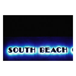Custom Photo Factory - South Beach Neon Sign Canvas Wall Art - South Beach Neon Sign  Size: 20 Inches x 30 Inches . Ready to Hang on 1.5 Inch Thick Wooden Frame. 30 Day Money Back Guarantee. Made in America-Los Angeles, CA. High Quality, Archival Museum Grade Canvas. Will last 150 Plus Years Without Fading. High quality canvas art print using archival inks and museum grade canvas. Archival quality canvas print will last over 150 years without fading. Canvas reproduction comes in different sizes. Gallery-wrapped style: the entire print is wrapped around 1.5 inch thick wooden frame. We use the highest quality pine wood available. By purchasing this canvas art photo, you agree it's for personal use only and it's not for republication, re-transmission, reproduction or other use.