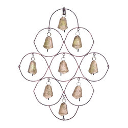 Benzara - Unique Metal Bell Wall Plaque Featuring 9 Exclusive Bells - Add a traditional touch to your home with this stylish metal bell plaque that derives its beauty from the finest detail in its intricate designed pattern. It features a total of 9 bells within 7 circles and 2 semi-circles. This metal bell plaque can be an aesthetic addition to your home decor. It can be placed right outside the door or near the window to give a traditional feel to your home. This metal bell plaque makes an ideal accessory for gardens and courtyards to add a warm touch. The attention to detail given to this metal ball plaque makes it more appealing in appearance. The metal used is of top quality, ensuring a better and long-lasting life, making it a more reasonable addition to your decor. It can also be used to enhance office decor to add a touch of modern art to settings. It comes with a dimension of 23 in.  H x 19 in.  W x 2 in.  D.