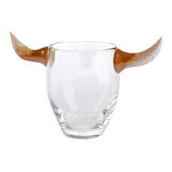 """George Agius - Horn Rimmed Glasses - Bringing a whole new meaning to """"horn-rimmed glasses"""", these bovine inspired beauties probably won't help you see straight (in fact we're guessing just the opposite), but we're bullish on these sharp looking whiskey glasses never-the-less."""