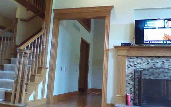 interior paint color works with the smoky golden oak wood trim. Black Bedroom Furniture Sets. Home Design Ideas