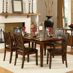 Homelegance - Homelegance Verona Expandable Dining Table - Distressed Amber Multicolor - 727-7 - Shop for Dining Tables from Hayneedle.com! Bring a touch of sophisticated style to your dining area with the Homelegance Verona Expandable Dining Table - Distressed Amber. Featuring a distressed amber finish this traditional dining table is durably made of solid rubberwood. This long-lasting table is sure to be the highlight of your dining decor. Comes included with one 18-inch extension leaf to provide ample dining space for up to six people.About Homelegance Inc.Homelegance takes pride in offering only the highest quality home furnishings that incorporate innovative design at the best value. From dining sets to mirrors sofas and accessories Homelegance strives to provide customers with a wide breadth and depth of selection as well as the most complete and satisfying service available for their category. Homelegance distribution centers are conveniently located throughout the United States and Canada.