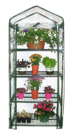 Alpine Fountains - 4-Tier Mini Green House - Plastic cover provides optimal conditions for plants. Can be used to start new seedlings. Keeps plant protected. Powder-coated Steel Frames. 27 in. L x 19 in. W x 62 in. H (10.36 lbs.). Assembly InstructionOur portable greenhouses are a perfect size for the patio or indoors in front of a window. Use it to start new seedlings or to keep plants protected year round. The plastic cover creates the optimal growing conditions for your plants.