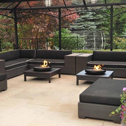 """Fire Pits - Great for Fall and Winter - The Urban Fire II is a contemporary looking outdoor gas fire pit suitable for residential and commercial locations. This all-weather fire pit uses glass to create a """"dancing fire"""" flame that also acts as a heat source on cool evenings. The fire light reflects off the safe-to-touch glass creating a relaxing atmosphere. while the included protective cover turns the fire pit into a functional outdoor coffee table."""