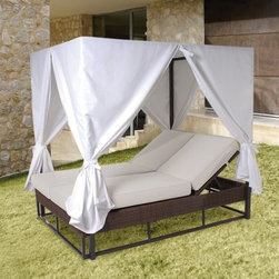 "Hospitality Rattan Soho Patio Daybed with Curtains - Rehau Fiber Java Brown - Make your outdoor space elegant with the Hospitality Rattan Soho Patio Daybed with Curtains - Rehau Fiber Java Brown. This daybed offers a removable canopy and curtains made of weather-resistant outdoor fabric. Most importantly the quality of the Soho collection makes it ideal for contract settings. About Hospitality RattanHospitality Rattan has been a leading manufacturer and distributor of contract quality rattan wicker and bamboo furnishings since 2000. The company's product lines have become dominant in the Casual Rattan Wicker and Outdoor Markets because of their quality construction variety and attractive design. Designed for buyers who appreciate upscale furniture with a tropical feel Hospitality Rattan offers a range of indoor and outdoor collections featuring all-aluminum frames woven with Viro or Rehau synthetic wicker fiber that will not fade or crack when subjected to the elements. Hospitality Rattan furniture is manufactured to hospitality specifications and quality standards which exceed the standards for residential use. Hospitality Rattan's Environmental CommitmentHospitality Rattan is continually looking for ways to limit their impact on the environment and is always trying to use the most environmentally friendly manufacturing techniques and materials possible. The company manufactures the highest quality furniture following sound and responsible environmental policies with minimal impact on natural resources. Hospitality Rattan is also committed to achieving environmental best practices throughout its activity whenever this is practical and takes responsibility for the development and implementation of environmental best practices throughout all operations. Hospitality Rattan maintains a policy of continuous environmental improvement and therefore is a continuing work in progress. Hospitality Rattan's Environmentally Friendly Manufacturing ProcessAll of Hospitality Rattan products are green. From its basic raw materials of rattan poles peels leather bamboo abaca lampacanay wood leather strips and boards down to other materials like nails staples water-based adhesives finishes stains glazes and packing materials all have minimum impact to the environment and are safe biodegradable recycled and mostly recyclable. Aside from this the products have undergone an environmentally-friendly process that makes them """"greener."""" The company's rattan components are sourced from sustained-yield managed forests which means the methods used to grow and harvest the rattan vines ensure the long-term life of the forest and protect the biodiversity of the forest's ecosystems. Hospitality Rattan is committed to buying and using all materials from rattan and hardwood to finishing materials from reputable and renewable suppliers and seeks appropriate evidence that suppliers are in compliance with this policy. Hospitality Rattan strives to use materials that are processed in an environmentally responsible manner or consist of a high level of recycled material. Finishing materials and stains used in Hospitality Rattan's furniture products consist of 75% water-based solutions which evaporate upon application with reduced or Volatile Organic Compounds (VOCs). The furniture factories use water-based glues stains topcoats and other finishes on all of their products. The switch from traditional solvent-based processes to water-based processes involved consolidating several processes by the factories resulting in an 85% reduction in VOC emissions."