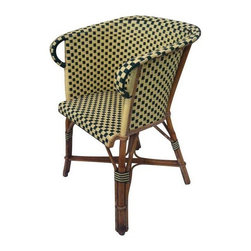 Pre-owned Parisian Bistro Chairs - A Pair - A beautiful pair of Parisian bistro chairs, completely original and imported from France. The chairs are very comfortable and sturdy and can be used indoors or out. The gorgeous woven pattern creates a dynamic contrast. There is minor wear but overall they are in excellent vintage condition.