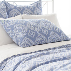 """Pine Cone Hill - PCH Ramala French Blue Pillow Sham - Modern style meets globally-inspired design on the PCH Ramala pillow sham. Embodying eclectic sophistication, this accessory's cream diamond pattern excites across a French blue background. Tie closure; 60% linen, 40% cotton; Enzyme washed; Insert not included; Machine wash; Available in standard and european sizes; Due to the handcrafted nature, color variations may occur; Designed by Pine Cone Hill, an Annie Selke company Standard: 26""""W x 20""""H; Euro: 26""""W x 26""""H"""