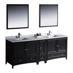 "Fresca - 84 Inch Double Sink Bathroom Vanity in Antique White, Espresso (Dark Brown) - Blending clean lines with classic wood, the Fresca Oxford Traditional Bathroom Vanity is a must-have for modern and traditional bathrooms alike. The vanity frame itself features solid wood in a stunning espresso finish that's sure to stand out in any bathroom and match all interiors. Available in many different finishes and configurations.  Dimensions: 84""W X 20.38""D X 32.63""H (Tolerance: +/- 1/2""); Counter Top: White Quartz Stone; Finish: Espresso (Dark Brown, Can Appear Black in Certain Lighting); Features: 5 Doors, 3 Drawers; Soft Close Hinges; Hardware: Chrome; Sink(s): 16.25"" X 11.5"" X 6.5"" Undermount White Ceramic Sink; Faucet: Pre-Drilled for Standard Single Hole Faucet (Included); Assembly: Light Assembly Required; Large Cut Out in Back for Plumbing; Included: Cabinet, Sink, Choice of Faucet with Drain and Installation Hardware, Mirror (31.88""W X 31.88""H); Not Included: Backsplash"