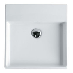 """Modo Bath - Unlimited 46 Wall Mount Sink 18.3"""", Without Faucet Holes - Unlimited 46 by WS Bath Collections 18.3"""" x 18.3"""" x 4.3"""" H, Wall Mounted Sink in Ceramic White"""