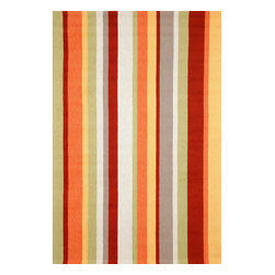"Trans-Ocean - Vertical Stripe Orange Rugs 1660/44 - 8'3""X11'6"" - Simple yet fashionable pattern lends itself well to the loosely tufted construction, while sophistication is achieved though intricately blended colors.Ideal for Indoor or Outdoor, these hand-hooked synthetic rugs are easy to clean and UV stabilized.The synthetic material and loop construction makes these rugs soft underfoot, yet durable enough for any high traffic area of your home."