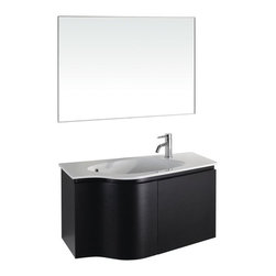 """Wyndham Collection - Aldo 35.25"""" Wall-Mounted Bathroom Vanity Set - The wall-mount Aldo bathroom vanity sets itself apart from the crowd with its elegant curved design, sturdy and smooth blum soft-close drawer hinges and ample under counter storage. This set is the perfect choice for a modern guest or master bathroom where space is at a premium, but style is required. Features: -Wall-mount bathroom vanity set. -Constructed of environmentally friendly, zero emissions solid Oak hardwood with natural wood veneers, engineered to prevent warping and last a lifetime. -Includes one-piece porcelain top with integrated sink. -Matching mirror with brushed steel. -Unique and striking contemporary design. -Modern wall mounted installation. -Beautiful, natural veneers over solid wood. -Features two doors with high quality blum soft-close concealed door hinges. -Single-hole faucet mount. -Faucet not included. Dimensions: -Mirror: 27.5"""" H x 35.25"""" W. -Vanity: 19.75"""" H x 35.25"""" W x 19.75"""" D."""