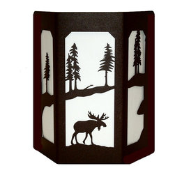 Wildlife Decor LLC - Sconce Wall Light with Open Sides, Rust, Moose - The open sided lights give off more light and have stained glass panels on both sides.