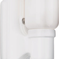 """Adrian Sconce - A classic """"sanitary"""" Streamline porcelain wall bracket popular in kitchens and baths from the 1920s well into the 1950s, the knob on the Adrian's arm acts as its on/off switch."""