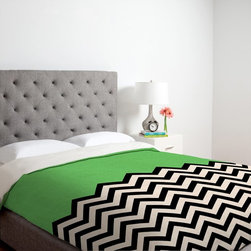 DENY Designs - DENY Designs Bianca Green Follow Duvet Cover - 14071-DUWKIN - Shop for Duvets from Hayneedle.com! Not even the sky is the limit for your style with the DENY Designs Bianca Green Follow The Sky Duvet Cover. This bold geometric duvet cover demands to be the focal point of your room. The black and white chevron pattern is offset with a pop of bright turquoise for a look that's as distinctive as your taste.Duvet Cover Dimensions:Twin: 88L x 68W inchesQueen: 88L x 88W inchesKing: 88L x 104W inchesAbout DENY DesignsDenver Colorado based DENY Designs is a modern home furnishings company that believes in doing things differently. DENY encourages customers to make a personal statement with personal images or by selecting from the extensive gallery. The coolest part is that each purchase gives the super talented artists part of the proceeds. That allows DENY to support art communities all over the world while also spreading the creative love! Each DENY piece is custom created as it's ordered instead of being held in a warehouse. A dye printing process is used to ensure colorfastness and durability that make these true heirloom pieces. From custom furniture pieces to textiles everything they make is unique and distinctively DENY.