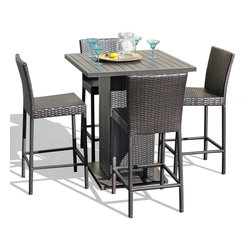 TKC - Venus Pub Table Set With Barstools 5 Piece Outdoor Wicker Patio Furniture - Features: