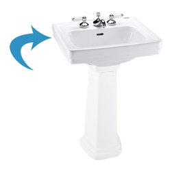 "Toto - Toto LPT532.8N Colonial White Promenade Pedestal Lavatory, Sink Only 8"" Centers - The Toto LT532.8#11 is a self-rimming lavatory, from Toto USA. The Toto LT532.8#11 ,measures 24"" x 19"", faucet mounts on 8"" center and comes in colonial white finish"