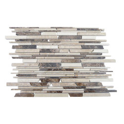 "GlassTileStore - Cafe Breva Free Form Cracked Joint Brick Marble Tile - Cafe Breva Free Form Cracked Joint Brick Marble  Tile             This marble mosaic will provide endless design possibilities from contemporary to classic. It creates a great focal point to suit a variety of settings. The mesh backing not only simplifies installation, it also allows the tiles to be separated which adds to their design flexibility. The tiles are finished with a cracked joint look. The natural material will have a color variation.         Chip Size: 1/5"" 1/3"" 5/8"" x Random   Color: Crema Marfil, Light Emperidor, Dark Emperidor   Material: Marble   Finish: Polished   Sold by the Sheet - each sheet measures 12"" x 12"" (1 sq. ft.)   Thickness: 10mm   Please note each lot will vary from the next.            - Glass Tile -"