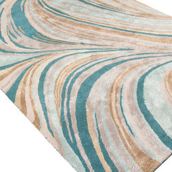 Jaipur Rugs - Hand-Tufted Soft Hand Wool/ Art Silk Blue/Tan Area Rug - In rich jewel or sorbet tones, accented with hints of viscose,  abstract patterns create a palette of design and color to build a room around.   Origin: India