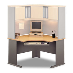 Bush Business - Corner Desk - Series A - This is a wonderful corner desk that will allow you to maximize the floor space in your home office.  You may add additional units to the computer desk to add more storage or simply make it more functional, with something like a retractable keyboard tray.  A great looking desk, this can be customized and really made your own.  An innovate corner work desk with a scratch resistance surface and a Beech finish, ensuring the longevity of the station's attractiveness.  A slide out keyboard tray adds to the practicality of this office piece. * Diamond Coat top surface is scratch and stain resistant. Steel insert in molded feet w levelers. Top and leg wire access/concealment. Great base for the Corner Hutch. Adjustable levelers for stability on uneven floors. Accepts Keyboard Shelf. Sturdy 1 in. -thick desk sruface. Durable PVC edge banding protects desk from bumps and collisions. Beech finish. 47.165 in. W x  47.165 in. D x 29.764 in. H