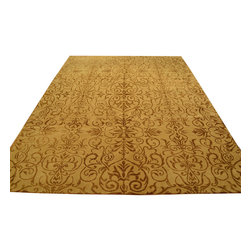 1800-Get-A-Rug - Oriental Rug Hand Knotted Rug Gold Modern Wool and Silk Sh12065 - About Modern & Contemporary