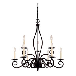 Karyl Pierce Paxton - Karyl Pierce Paxton Oxford Transitional 9-Light Chandelier X-31-9-99-PK - This updated traditional look holds onto European influences which displays a dramatic statement. The Savoy House Lighting Oxford Transitional chandelier features an intricate metal frame with delicate scrolls which comes in a rich English bronze finish. The nine candle lights with cream candle covers give an invitingly warm glow.