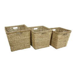 Oriental Furniture - Hand Woven Rush Grass Basket Bin ( Set of 3 ) - Hand woven natural fibers and a strong metal frame are the hallmark of this set of three storage baskets. The rustic style and eco-friendly design appeal to both savvy decorators and environmentally conscious consumers.