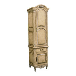 Ambella Home - Martinique Cabinet - This work of art is billed as a bathroom towel cabinet. It will do a good job too, but who will see it to admire the carved leaf embellishments and antique parchment finish? You could think dining room or living room or even the kitchen. After all, it's French and needs a bigger audience.