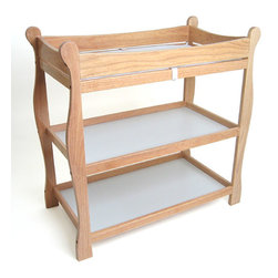 Badger Basket - Natural Sleigh Style Changing Table - Our Sleigh Style tables were completely redesigned in 2004! The changing table features two nicely sized shelves and ample room on top for changing diapers or dressing your baby. Safety rails enclose all four sides around the top of the table and the metal support bar beneath the changing surface provides additional stability. Also includes a changing pad and safety strap. It can be used with children weighing up to 30 lbs. (13.6 kg).