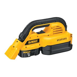 "DEWALT - DEWALT DC515K 1/2 Gallon 18-Volt NiCd Cordless Wet/Dry Vac - Cordless portable wet/dry vac has dual clean-up modes allowing for debris clean up with either the front utility nozzle or extendable rubber hose. 1/2 gallon tank with heavy-duty latch is easy to empty and clean. Washable Gore HEPA wet/dry filter traps 99  .97 per cent of dust at 0.3 microns. Heavy-duty 1-1/4"" rubber hose is 2.5' in length. Large on/off switch that is easily accessible with one hand. Includes: 18-volt Dewalt XRP battery, 1-hour charger. 6 lb. tool weight.            This item cannot be shipped to APO/FPO addresses.  Please accept our apologies"