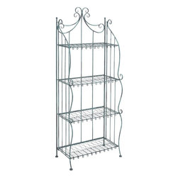 """Benzara - Baker's Rack with Striking Design in Black Color - A perfect solution for all your storage woes, this elegantly designed metal bakers rack is sure to jazz up your home decor while solving your storage issues. This metal bakers rack can be easily placed in your living space or bedroom to stack up your necessities. Place this stylish rack at home or office, it is sure to enhance the style quotient of your living space while being super-functional with its design. With 4 beautiful shelves, this metal rack is long and spacious to accommodate many utility items and decorative showpieces. Made of sturdy metal, it is a durable stand with a long life and retained charm. It is available in black color and perfectly suits any interior backdrop. It can be used both indoors and outdoors and is easily movable and compact. With a striking design and multi utility function, this metal bakers rack can be kept in your kitchen, living room or bedroom alike.; Durable and long lasting; Suits modern and conventional decor; Made of high quality metal; Suitable for outdoors and indoors; Weight: 19.8 lbs; Dimensions:13""""W x 24""""D x 65""""H"""