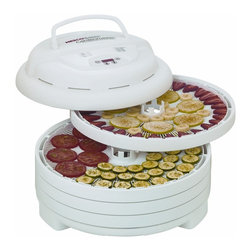 Nesco - Nesco FD-1040 Gardenmaster Digital Pro Food Dehydrator - Dry fruit and vegetables,herbs and flowers,granola or strips of jerky in hours instead of days with this 1000-watt food dehydrator. Top mounted fan eliminates liquids dripping into the heater chamber. New digital timer is programmable for up to 48 hours